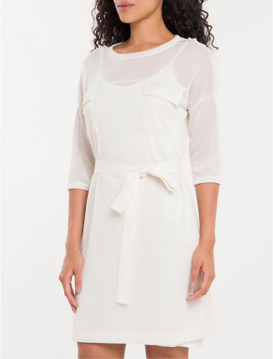 T-Shirt-Dress-Bolsos-Calvin-Klein-Branco-2-