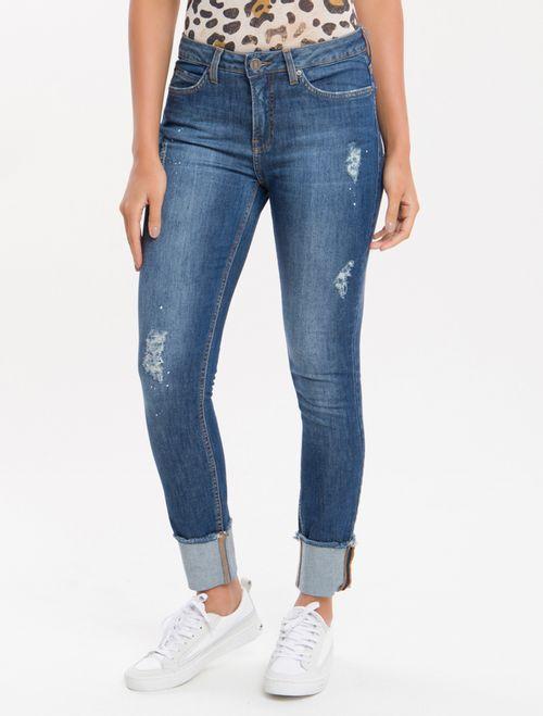Calça Jeans Five Pockets Mid R Skinny - Marinho