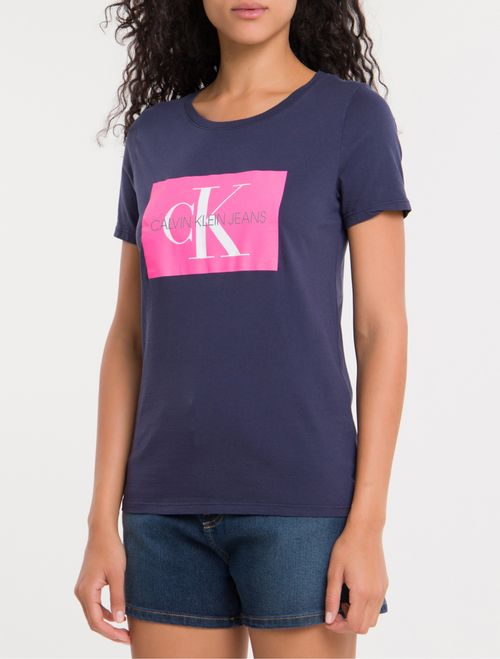 Blusa Ckj Fem Mc Re Issue - Marinho