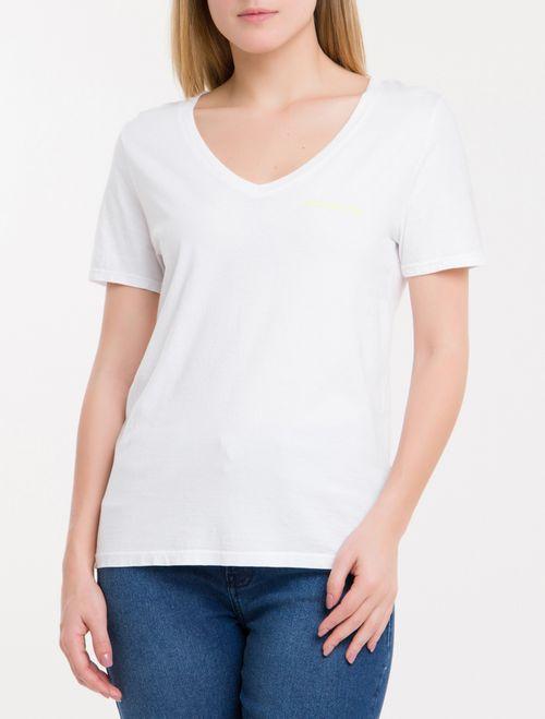 Blusa Ckj Fem Mc Logo Peito V - Branco 2