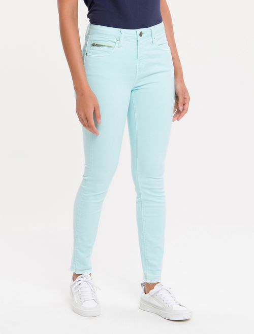 Calça Color Five Pockets High R Skinny - Verde Claro
