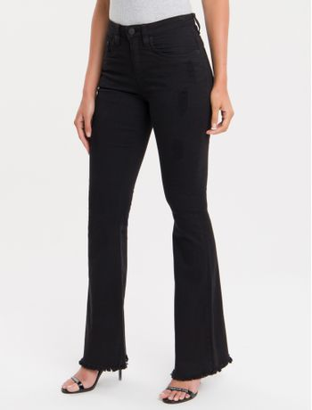Calca-Color-Five-Pockets-Mid-Rise-Flare---Preto