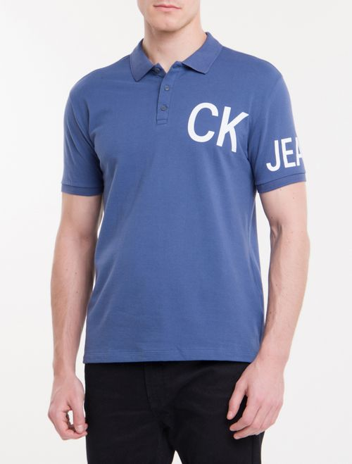 Polo Ckj Mc Silk Ck Jeans - Azul Escuro