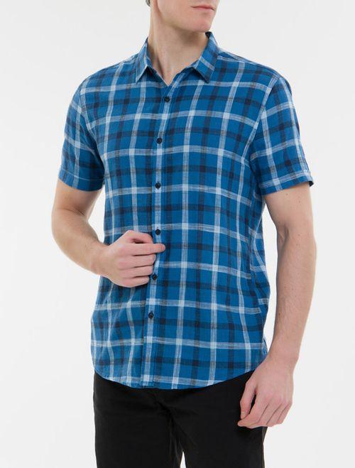 Camisa Mc Ckj Masc Xadrez E Silk - Azul Escuro