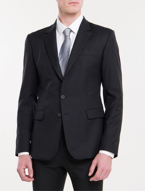 Costume Slim Lã Micro Espinha De Peixe - Preto