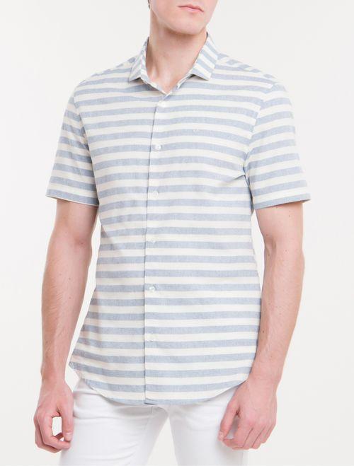 Camisa Mg Curta Reg Sustainable Listrada - Azul Claro