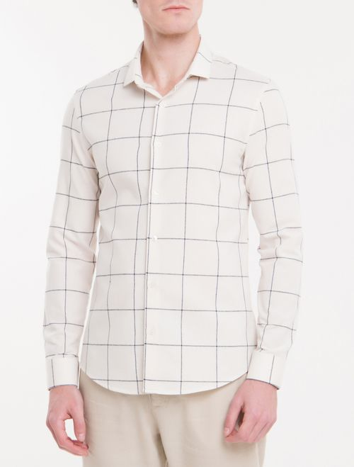 Camisa Slim Mg Longa Mono Grid - Branco 2
