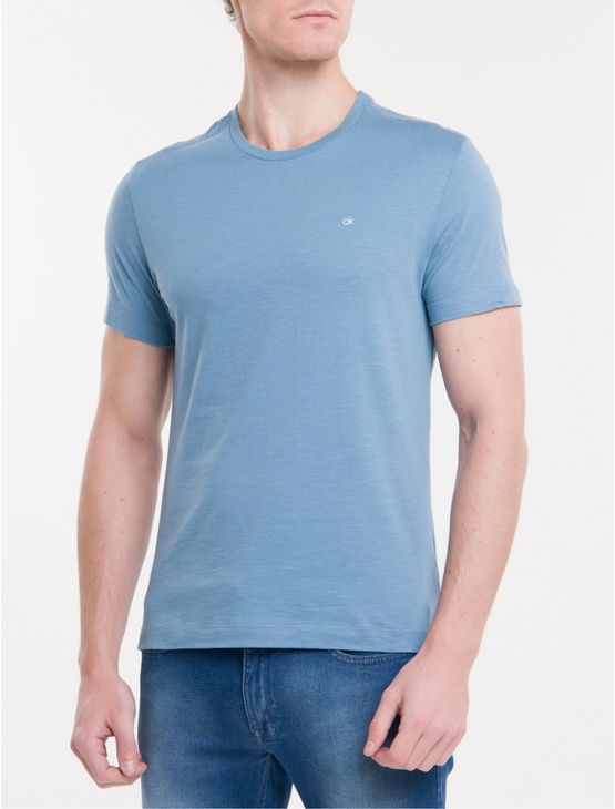 Camiseta-Slim-Flame-Calvin-Klein---Azul-Claro