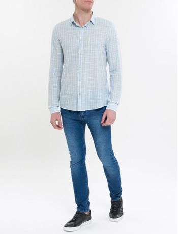 Camisa-Ml-Ckj-Masc-Listrado-Silk-Logo---Azul-Claro-