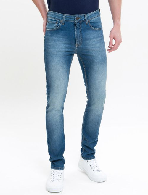 Calça Jeans Five Pockets Skinny - Azul Médio