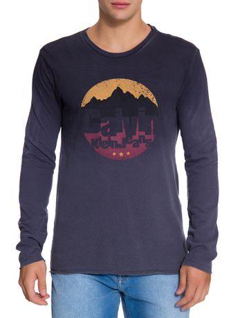 Camiseta-Ckj-Ml-Est-Montanhas---Azul-Marinho
