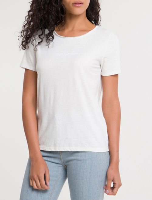 Blusa Ckj Fem M/C Sustainable Logo Peito - Off White