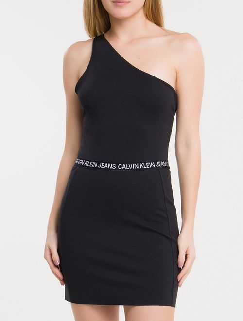 Body Ckj One Shoulder Logo - Preto