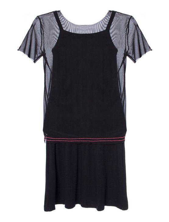 Vestido-Malha-Ckj-Tule-Silk-Fluor---Preto