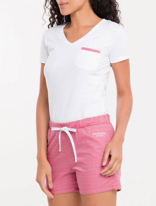 Pijama M/C E Short Tricoline Xadrez - Branco 2