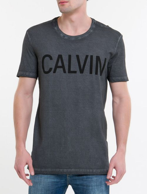 Camiseta Ckj Mc Est Calvin - Chumbo