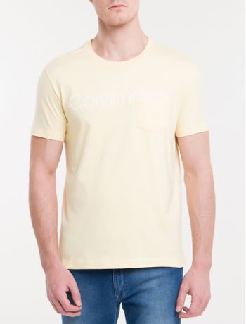 Camiseta-Slim-Careca-Calvin-Klein---Amarelo-Claro