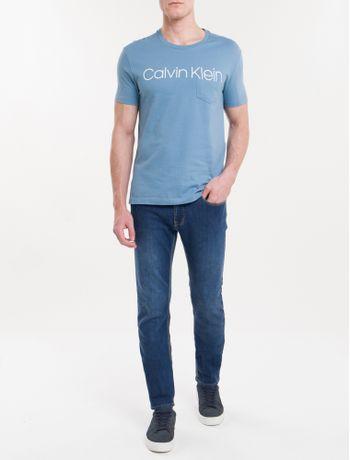 Camiseta-Slim-Careca-Calvin-Klein---Azul-Claro