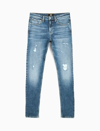 Calca-Jeans-Five-Pockets-Slim-Taper-CK50---Azul-Medio