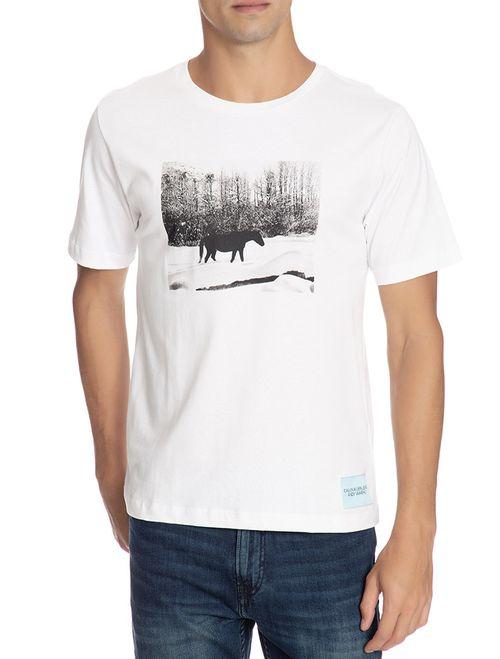 T-Shirt Ckj Masc Mc Andy Warhol Landscap - Branco