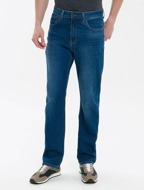 Calça Jeans Five Pockets Ckj 037 Relaxed Straight - Azul Médio