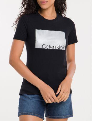 Camiseta-Foil-Prateado-Calvin-Klein---Preto