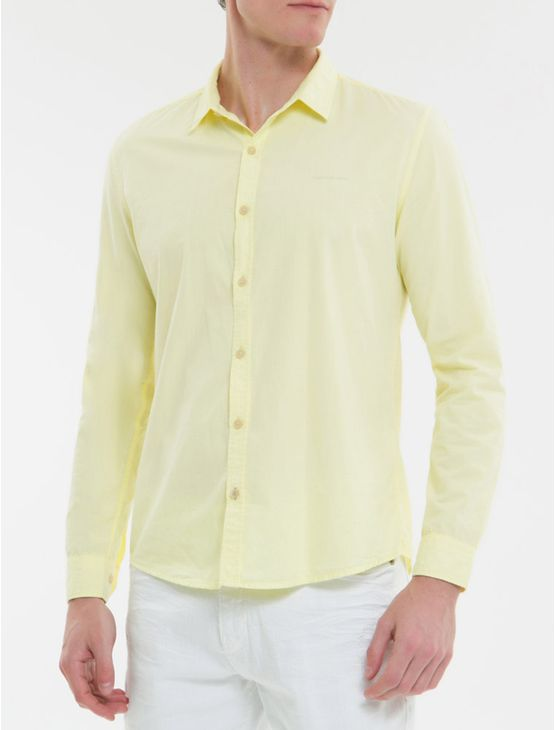Camisa-Ml-Ckj-Masc-Tinturado-Com-Silk-Lo---Amarelo-Claro