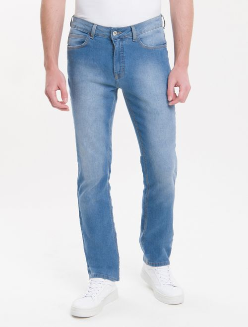 Calça Jeans Five Pockets Slim Straight - Azul Claro