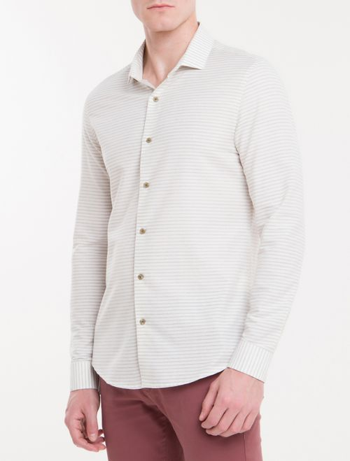 Camisa Slim Mg Longa Linen Listrado - Gelo