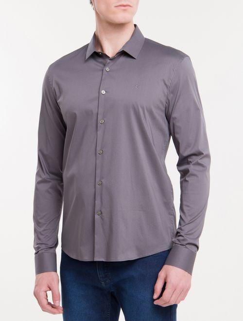 Camisa Slim Mg Longa Linen - Gelo
