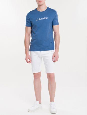 Camiseta-Slim-Basica-Flame-Calvin-Klein---Azul-Medio