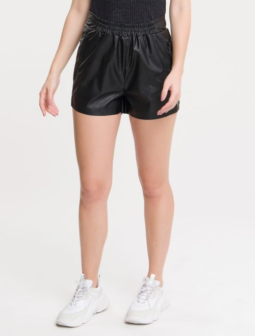 Shorts Cós Elástico C/ Zíper - Preto