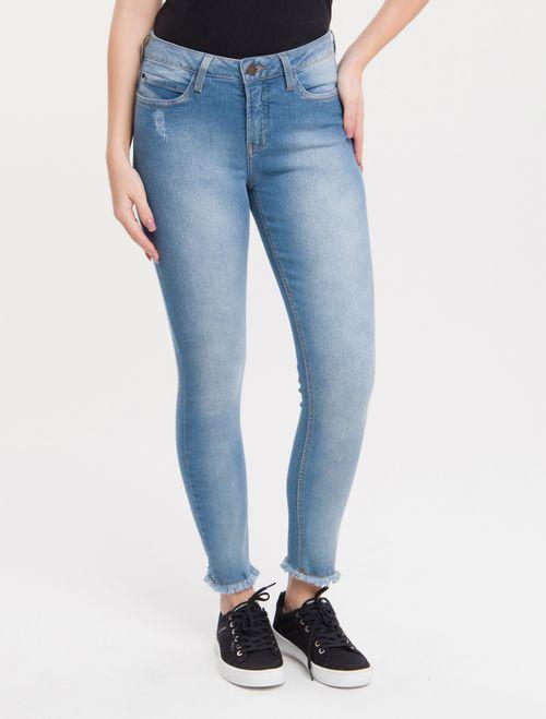 Calça Jeans Five Pockets Mid Rise Skinny - Azul Claro