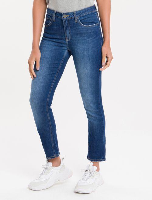Calça Jeans Five Pockets Mid Rise Slim - Azul Médio