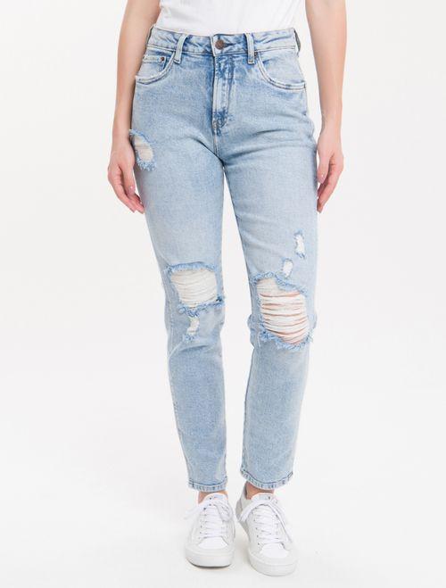 Calça Jeans Five Pockets Mom - Azul Claro