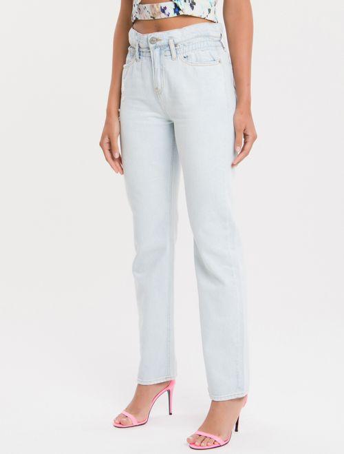 Calça Jeans Five Pockets High Rise Strai - Azul Claro