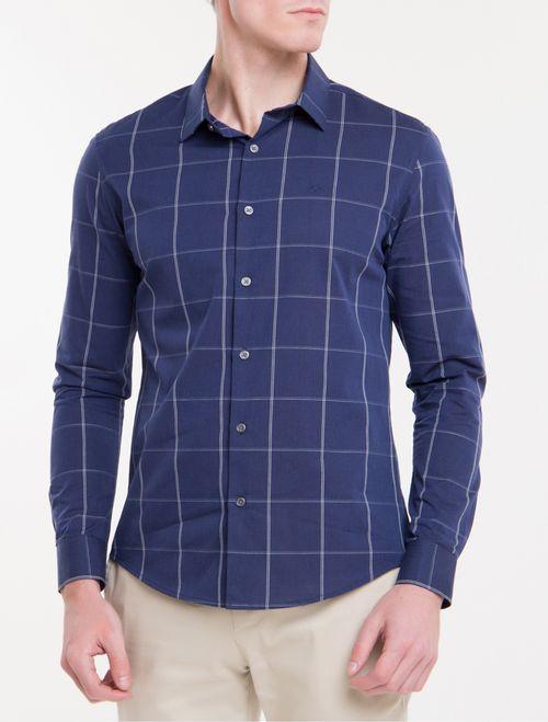Camisa Slim Monte Carlo Tecidos Xadrez - Marinho