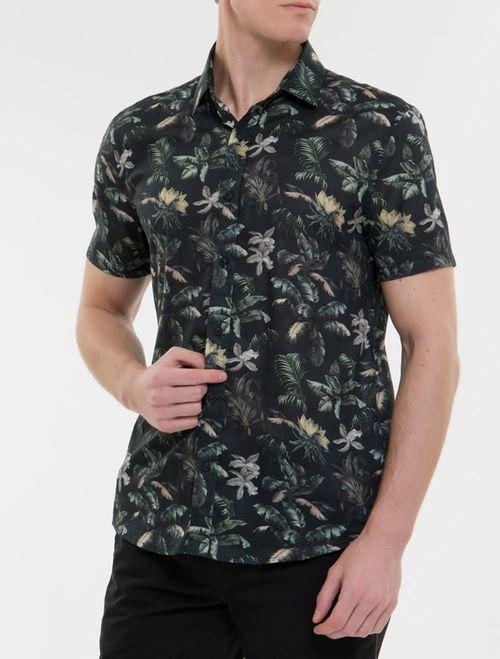 Camisa Mc Ckj Masc Estampa Floral Jungle - Preto