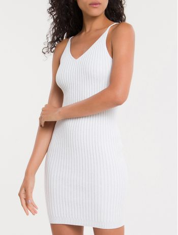 Vestido-De-Tricot-Com-Decote-V---Off-White