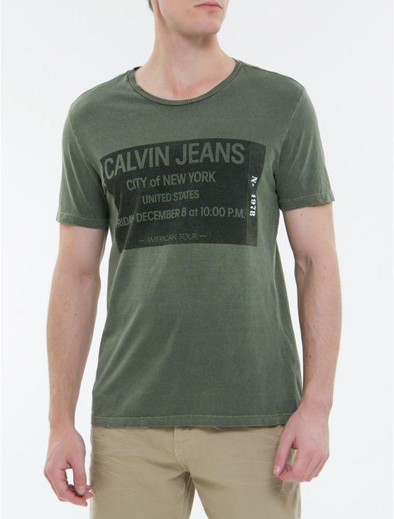 Camiseta-Ckj-Mc-Ticket-Calvin-Jeans---Militar
