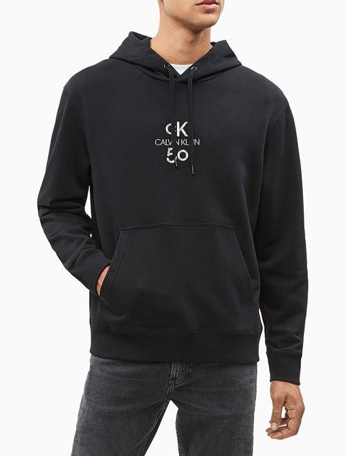 Blusa Ml Masc Logo Relaxed Com Capuz CK50 - Preto