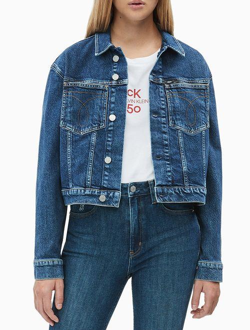 Jaqueta Jeans Fem Cropped Omega CK50 - Azul Escuro