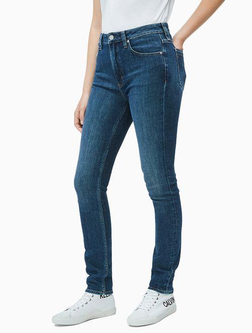 Calça Jeans Fem Five Pockets High Rise Skinny - Azul Escuro