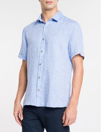 Camisa-Mg-Curta-Regular-Cannes-Linen---Azul-Claro
