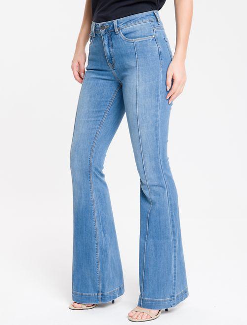 Calça Jeans Com Nervura Flare - Azul Claro