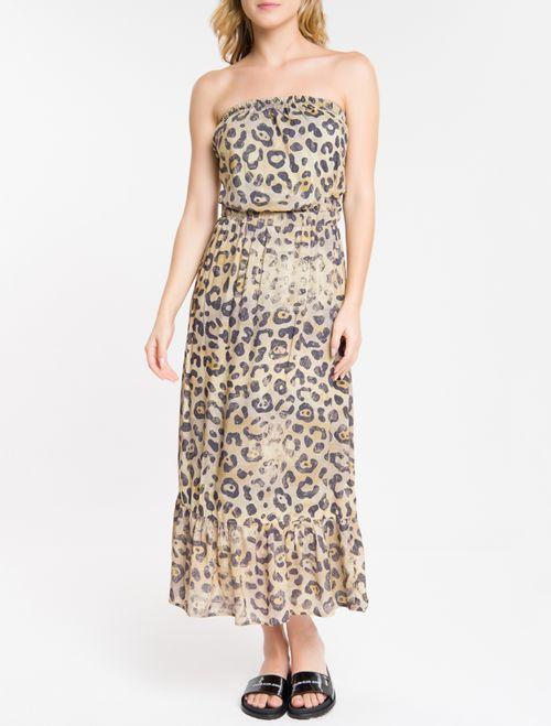 Vestido Midi Animal Print - Areia