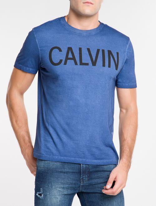 Camiseta Ckj Mc Est Calvin - Azul Escuro