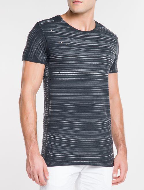 Camiseta CKJ Listras Pinceladas Long - Preto