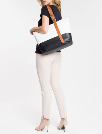 Bolsa-Shopping-Bag-Ck-Bicolor-Em-Couro---Preto