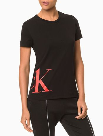 Camiseta-Feminina-Meia-Malha-Ck-One-Camo---Preto